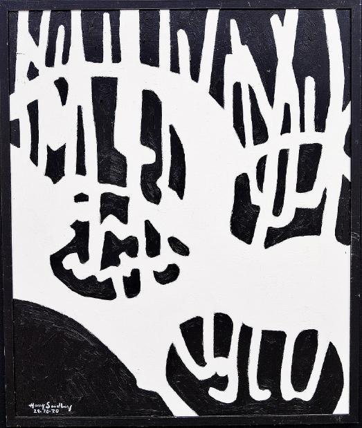 "Harry Sandberg Akryl pannå. ""Groddar serie 5, 29/10-1970"" Utrop: 1,000-2,000 sek."