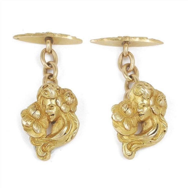 Boutons de manchettes Art Nouveau en or
