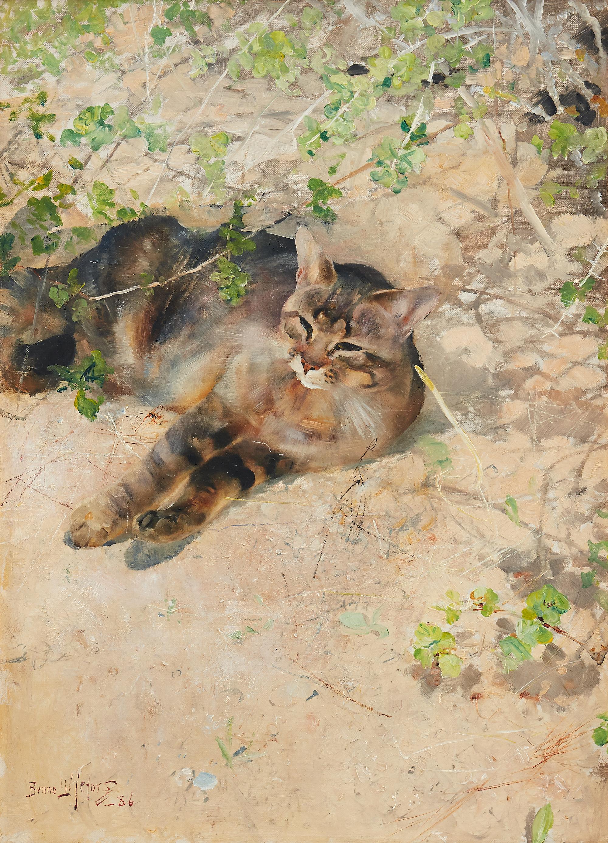 """Bruno Liljefors älskade katt Jeppe fick vara modell för målningen """"Katt i vårsol"""", signerad och daterad Bruno Liljefors -86. Det som räknas som ett av djurmålarens absolut främsta år som konstnär. Utropspris är 2,5-3 miljoner kronor hos Uppsala Auktionskammare i vår."""