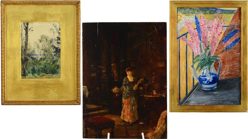 Nr 26. Albert Theodor Gellerstedt, akvarell, daterad 1887. Utrop: 5.000 kronor. Nr 32. Knut Ekwall, olja på pannå. Utrop: 10.000 kronor. Nr 19. Rolf Trolle, olja på duk, otydlig datering. Utrop: 5.000 kronor.