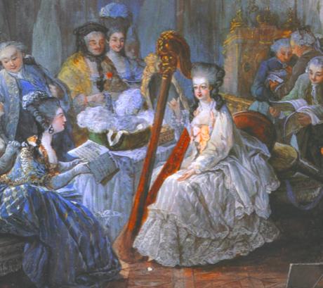 Maria Antionette vid harpan
