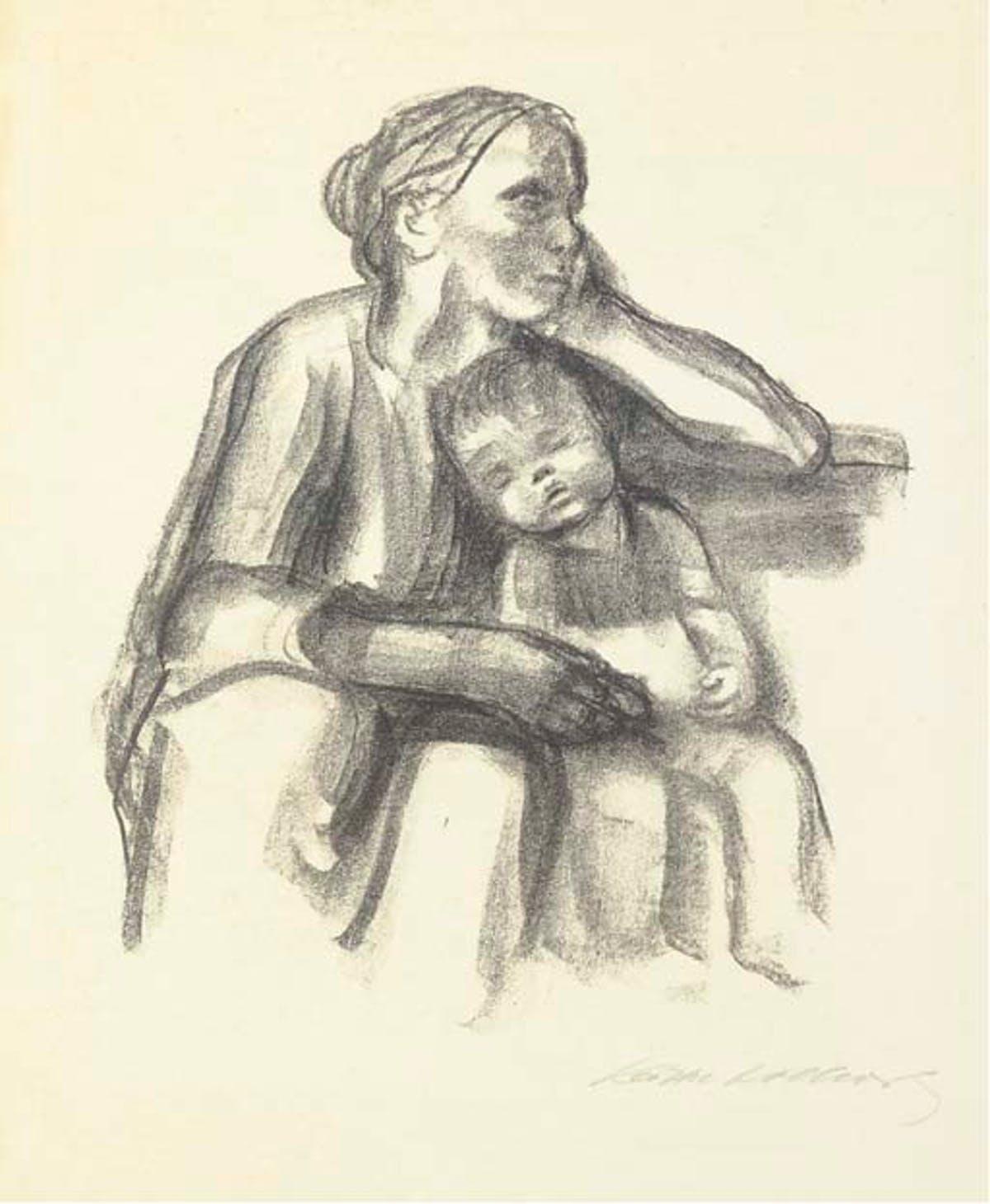 Käthe Kollwitz, Arbeiterfrau mit schlafendem Jungen, 1927 Foto: Christie's