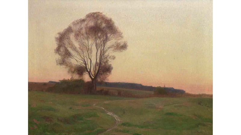 FRANZ BUNKE (1857 Schwaan-1939 Oberweimar) - Schwaaner Landschaft, Öl/Lwd., signiert