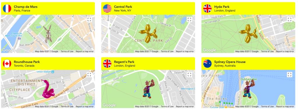 Auszug aus den Städten, in denen Arbeiten von Jeff Koons sichtbar werden Foto: Courtesy of Snapchat Art