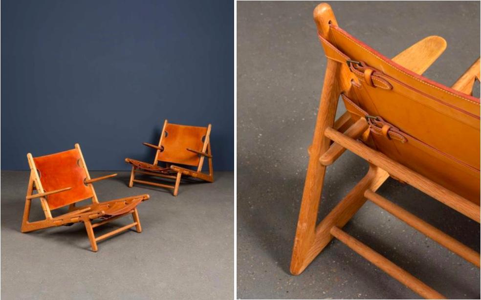 """BØRGE MORGENSEN (1914-1972) - 2 """"Hunting Chairs"""", um 1950, Leder, Eiche"""