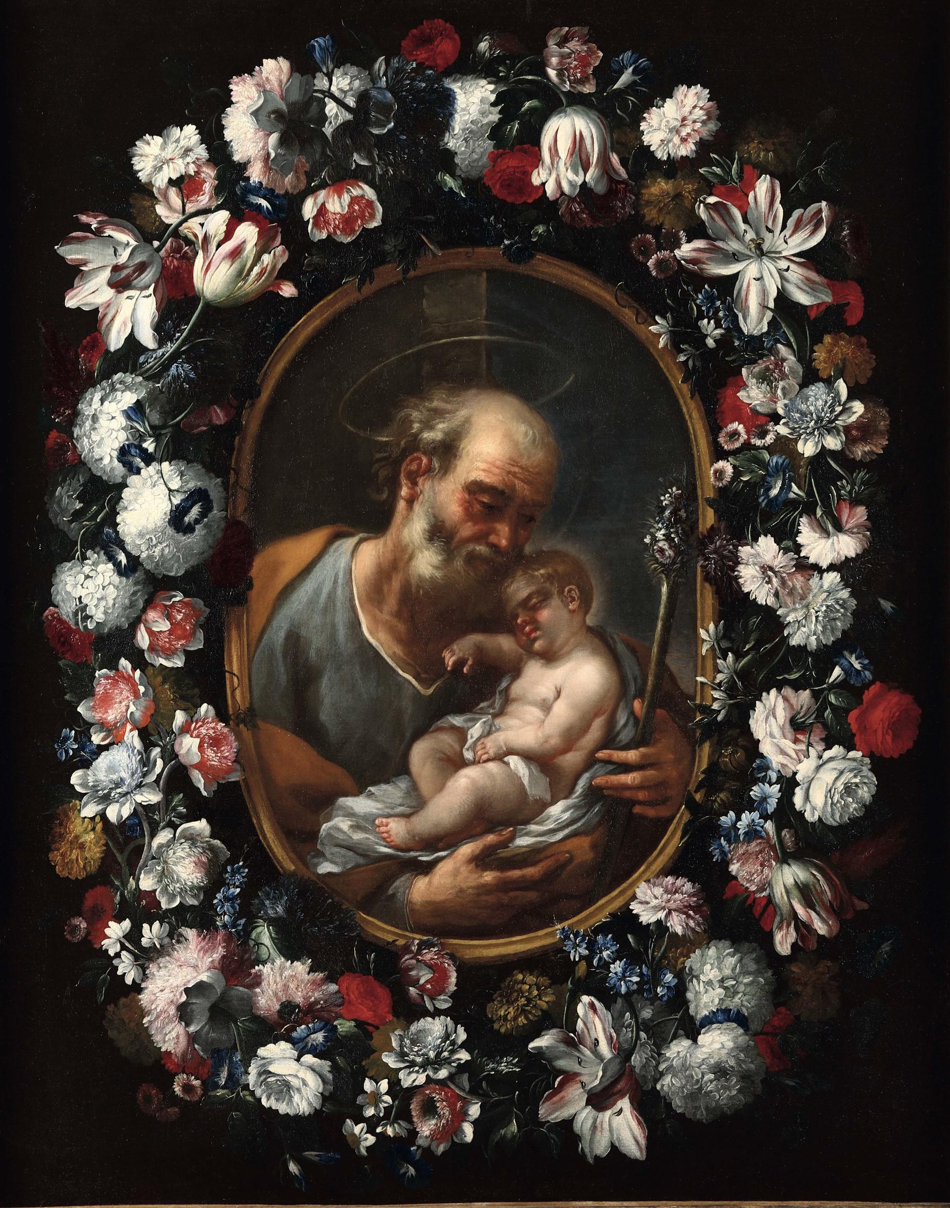 ABRAHAM BRUEGHEL und LUCA GIORDANO (1634-1705) - Der hl. Josef mit Kind in einem Blumenkranz, Öl/Lwd.