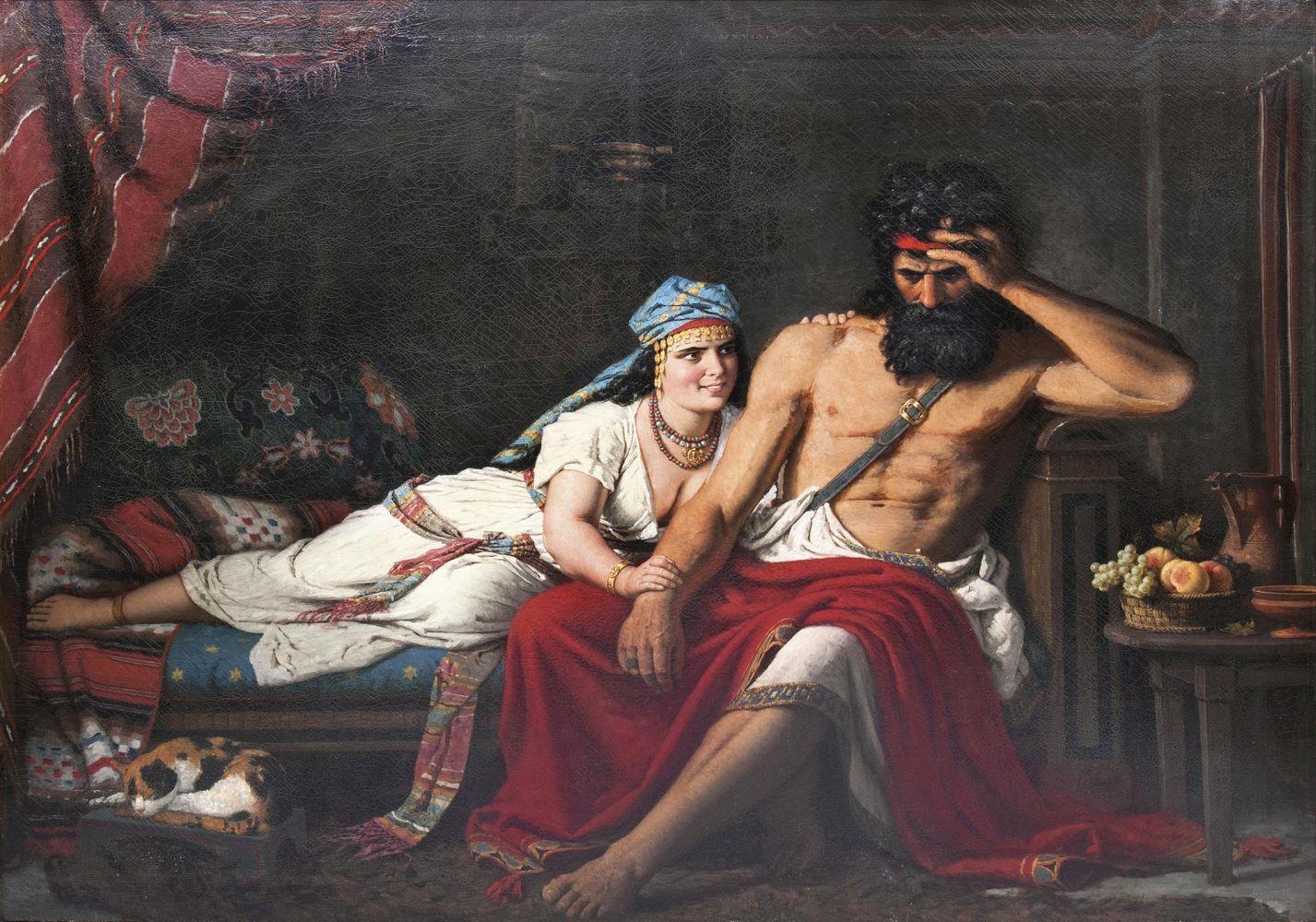 Carl Ludwig Jessen (1833 Deezbüll/Tondern 1917), Samson und Delilah, Öl/Lwd., signiert und datiert, 1882