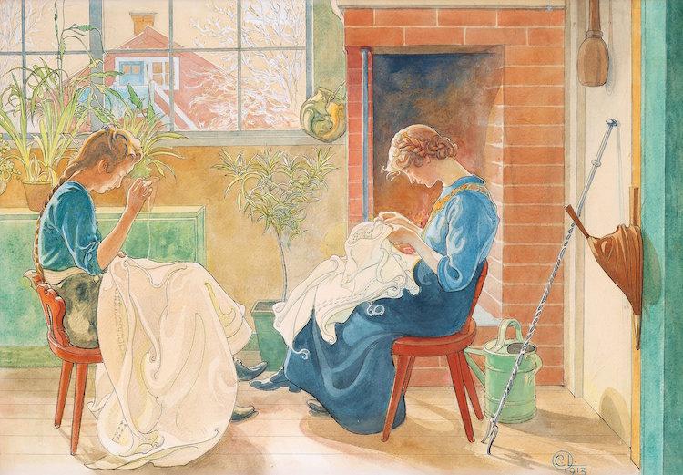 """Stilikonen och den mästerlige akvarellmålaren Carl Larsson är en av våra verkliga nationalmålare. Carl Larssons akvarell """"Syende jäntor""""/""""Flickor som sy vid fönstret"""" från 1913 klubbades för 3,3 miljoner kronor, vilket kan översättas till dryga 4,4 miljoner kronor för köparen att betala."""