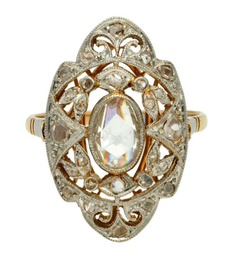 Sortija Belle Époque de diamantes (hacia 1910)
