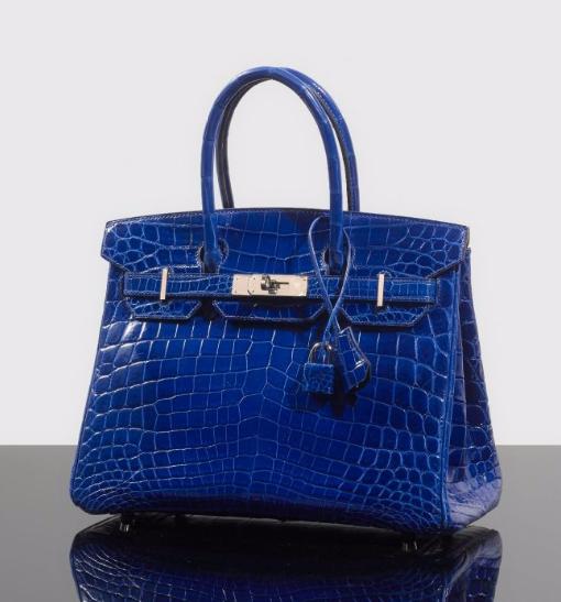 "Hermès Sac "" Birkin "" 30 cm en crocodile du Nil bleu Roi brillant  Artcurial"