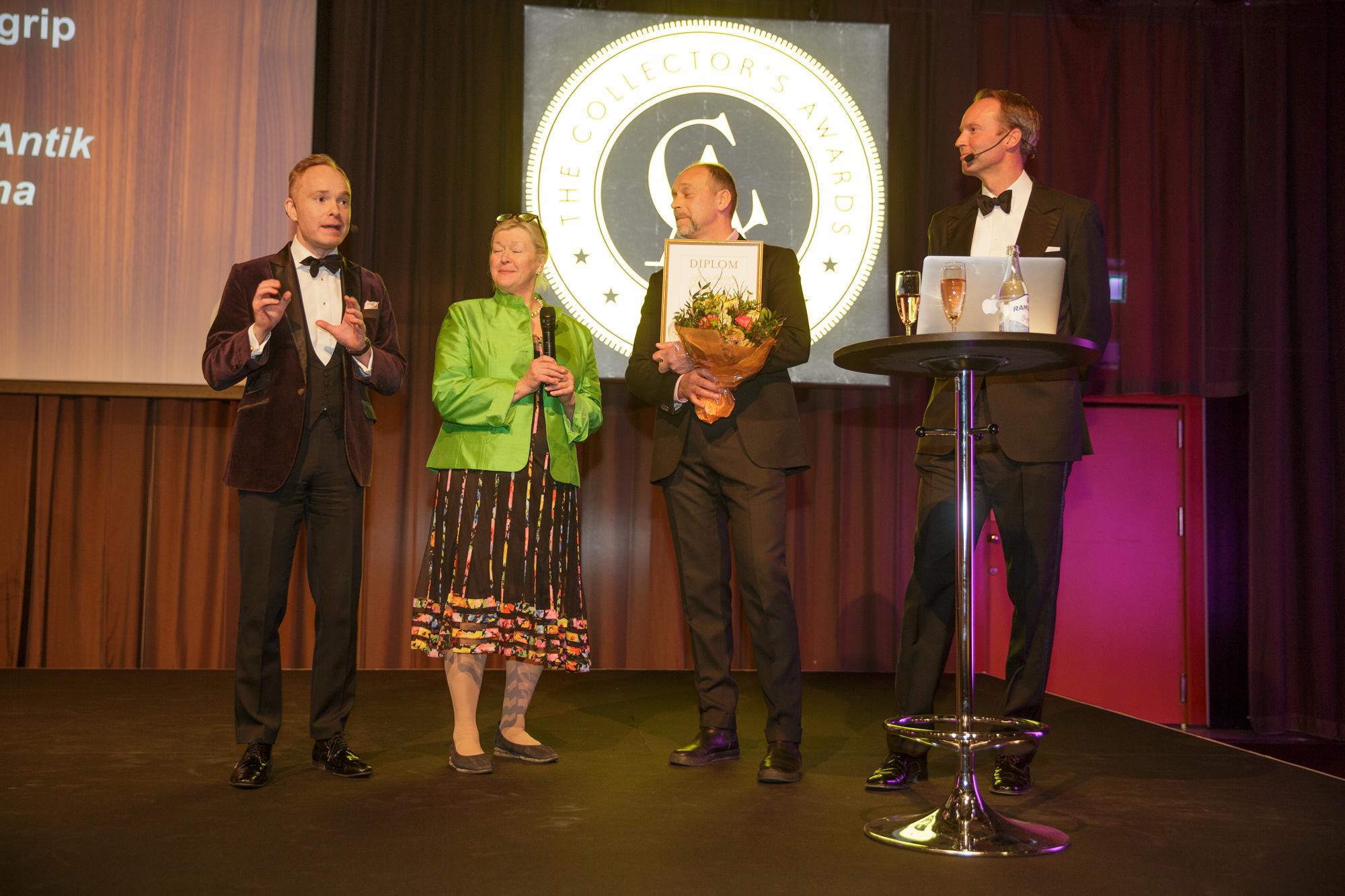 Annette Granlund representerade Hoffman Antikhandel som vann Årets Dyrgrip.