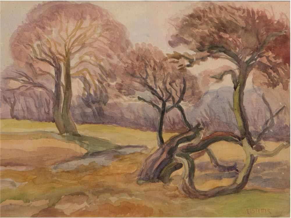 DORA KOCH-STETTER (1881 Bayreuth-1968 Ahrenshoop-Althagen) - Herbstlandschaft mit Bäumen, Aquarell, signiert