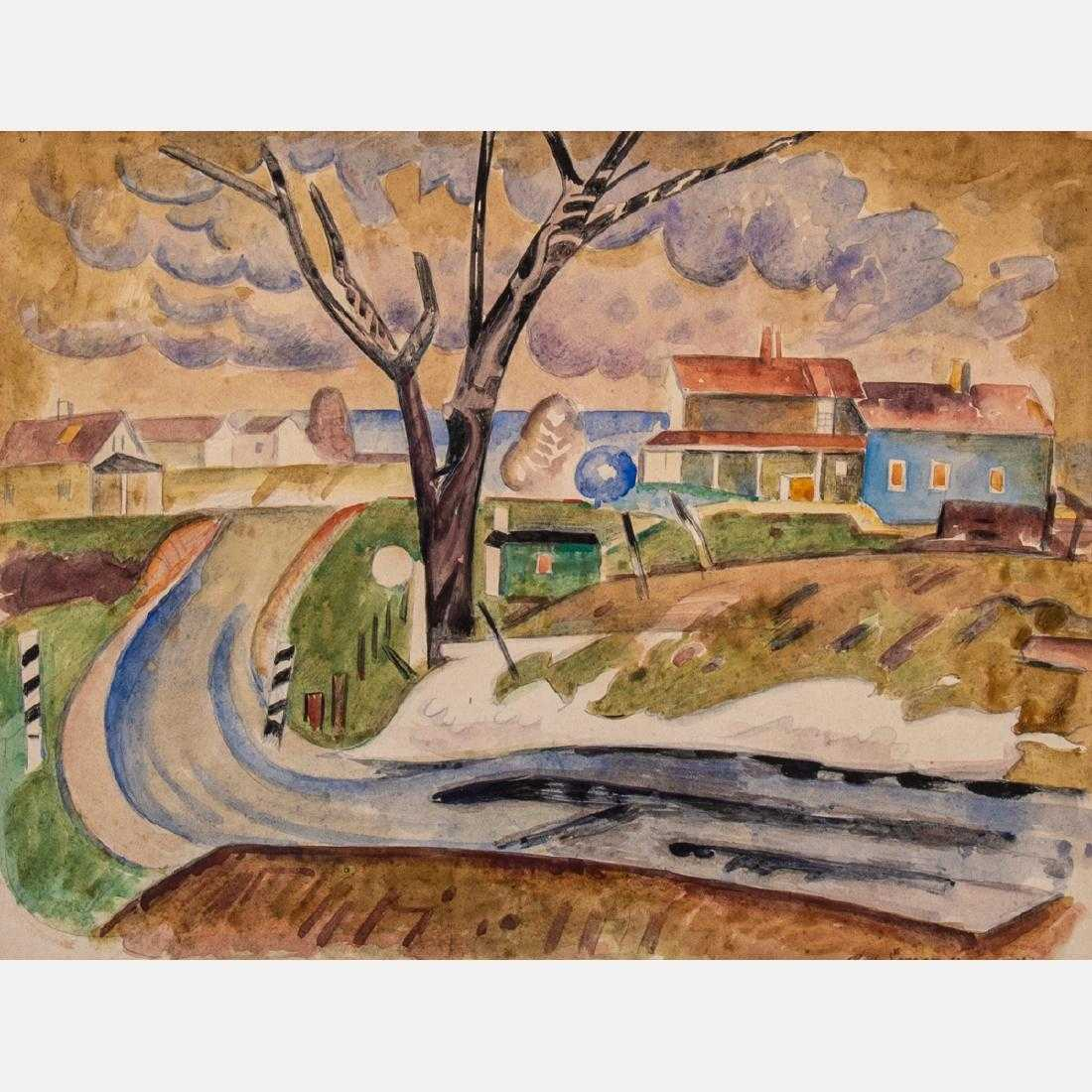 Watercolor by the American Modernist painter William Sommer (1867-1949), titled Landscape with Houses, signed lower right (est. $3,000-$5,000).