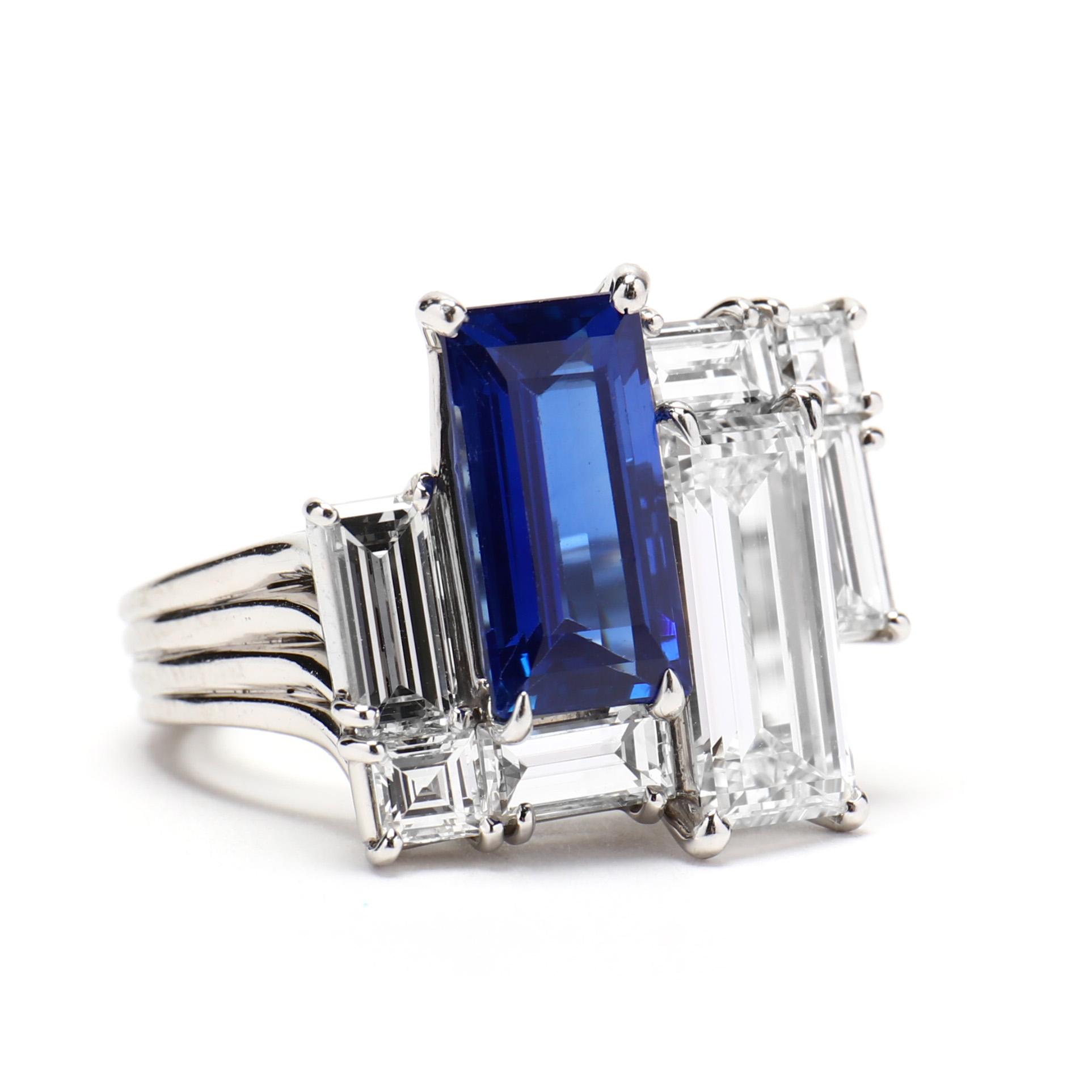 Important Platinum, Kashmir Sapphire, and Diamond Ring