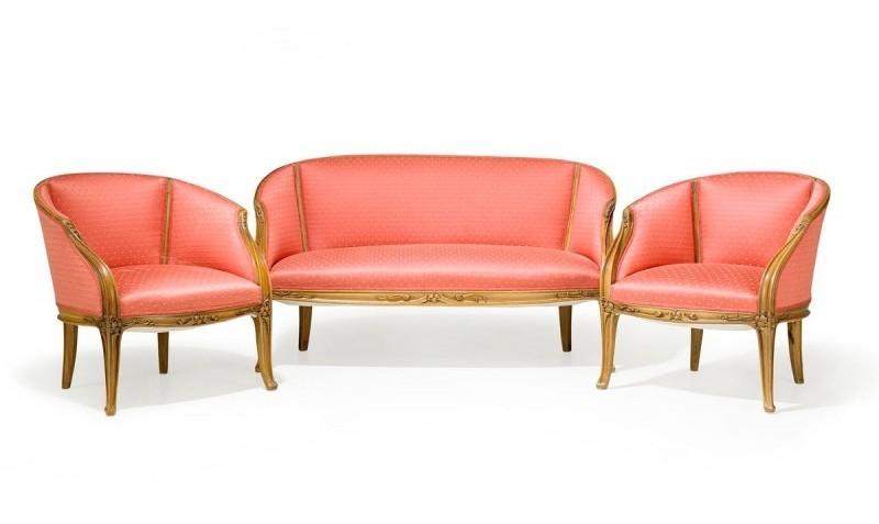 Louis Majorelle, canapé et fauteuils, Nancy, France début XXe siècle, image ©Stockholms Auktionsverk