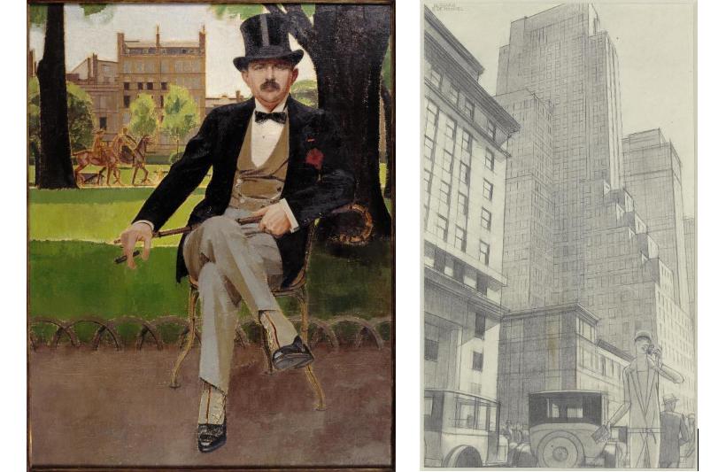 Bernard Boutet of Monvel. Links: Portrait of Georges Menier (circa 1925) Rechts: New York Street (1928) Centre Pompidou