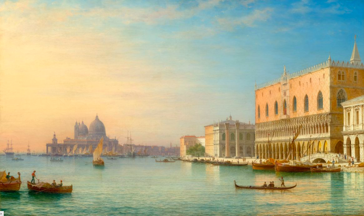Carl Morgenstern, Venice overlooking the Doge's Palace and St. Mary's. 1863, oil on canvas. Image © Koller