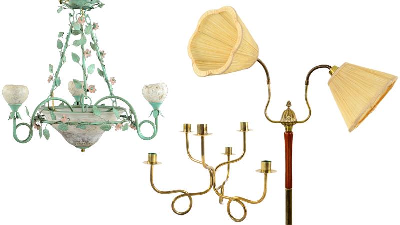 Från vänster: Taklampa i grönpatinerad plåt och glas med lövverk och blommor, Kandelaber av Josef Frank för Svenskt Tenn, Tvåarmad retrolampa från 1950/60-talet. Bilder: Formstad