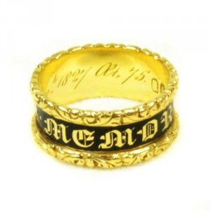 "1827: Mourning Ring, 18ct Gold and Enamel, Hallmarked London 18ct Gold Dated 1827 inscribed with ""Wm (William) Wrightson ob 26 Dec. 1827 At 75"" - See more at: http://artofmourning.com/2015/08/06/the-earliest-mourning Image via Art of Mourning"