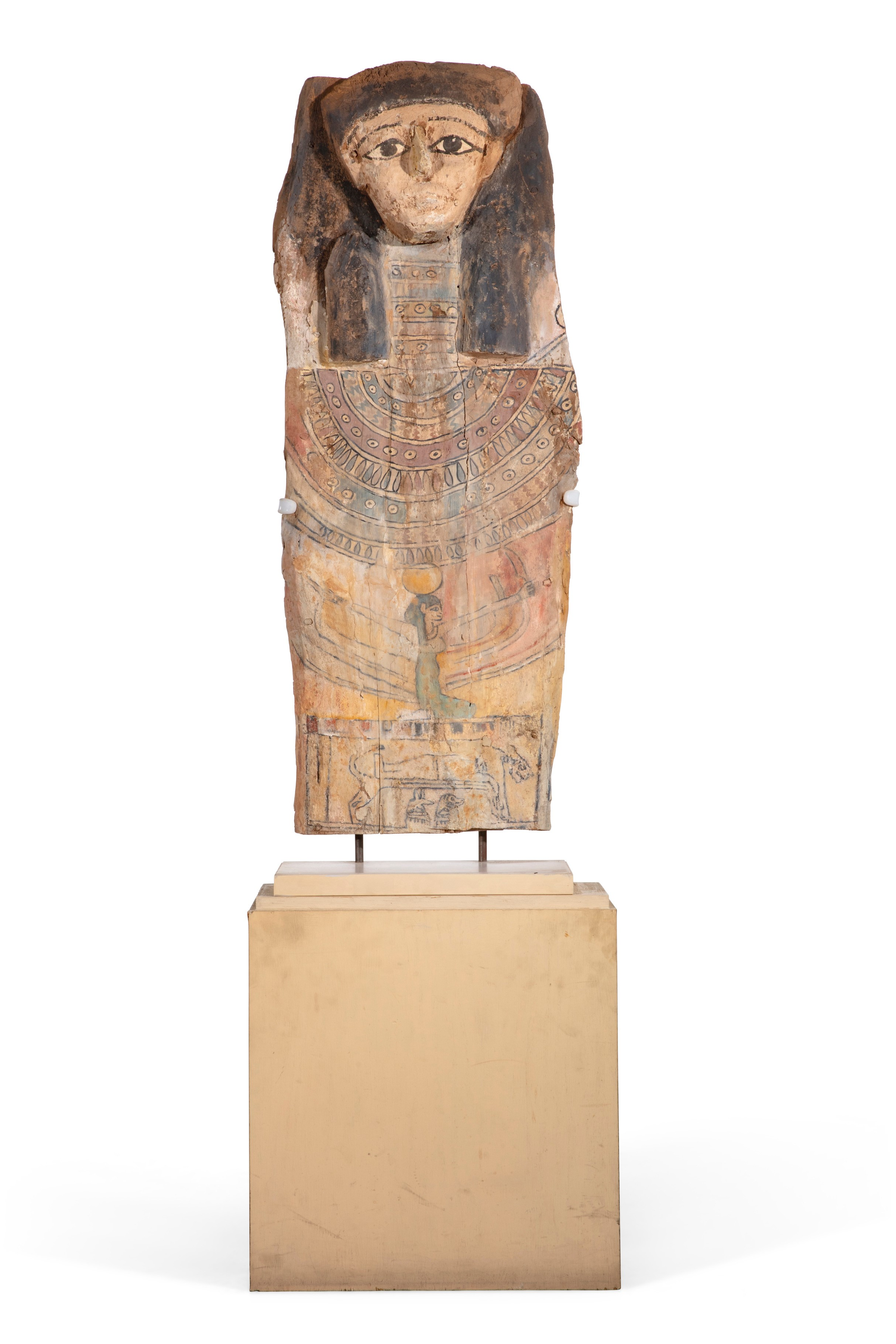 Egyptian polychrome decorated sarcophagus cover from the late Period to Ptolemaic Period, circa 664-30 BC, formerly in the collection of the late actor Larry Hagman. (est. $600-800).