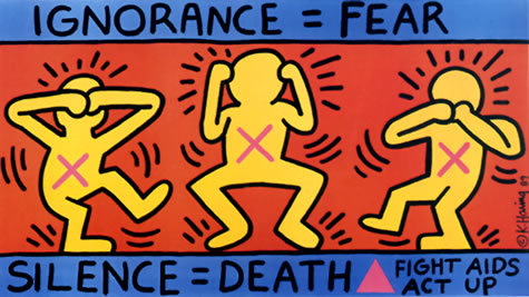Ignorance=Fear, Silence=Death, 1989 Poster for ACT UP Keith Haring artwork © Keith Haring Foundation