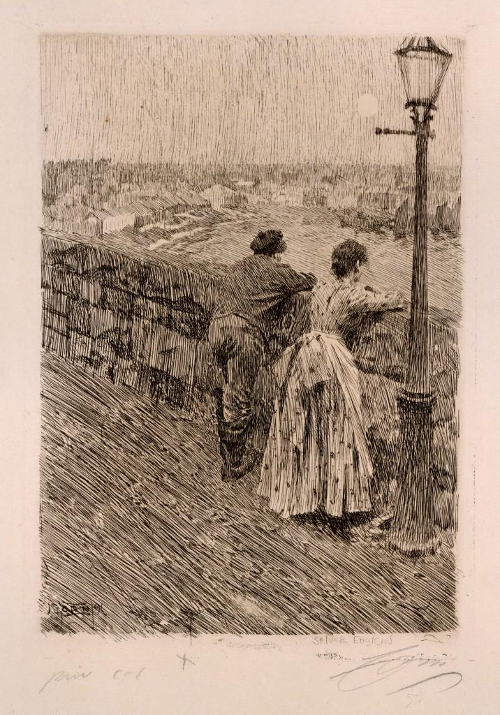 Etsning efter målningen Fiskare i St. Ives. Bild: Zornmuseet.