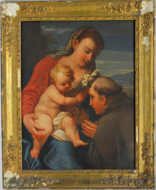 """På Barnebys hittar du alltid ett antal Madonnabilder. Just denna måkning säljs hos det italienska auktionshuset Il Ponte casa dáste. Målningen är från slutet av 1700-talet och föreställer """"Madonna med Jesusbarnet och Sant'Antonio da Padova"""". Utropet är 8-10 000 euro"""
