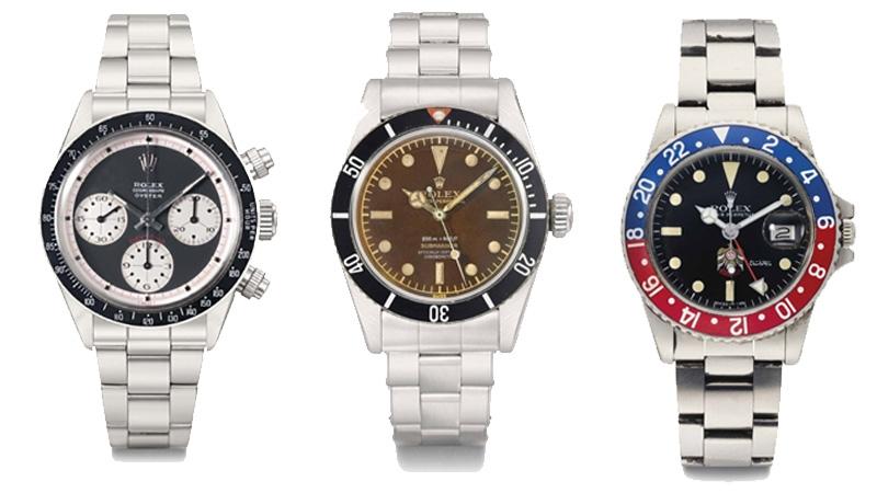 À gauche: Rolex, Cosmograph, Oyster, Daytona, ref. 6263/6239, Paul Newman, adjugée 913 000 euros en 2013 chez Christie's Au centre: Rolex, Oyster Perpetual, Submariner, ref. 6538, case no. 449'170, circa 1959, adjugée 480 000 euros en 2013 chez Christie's Rolex, Oyster Perpetual, GMT-Master, Ref. 1675, Case No. 5'159'297, Circa 1977, adjugée 86 000 euros en 2015 chez Christie's