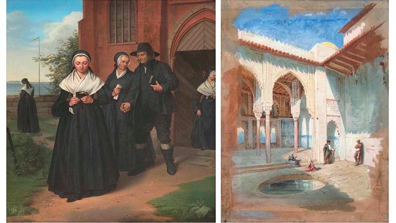 Links: ALBERT GRELL (1814-1891) - Fischersleute in Tracht nach dem Kirchgang, Öl/Lwd., signiert und datiert 1843 Rechts: HENRI ÉMILIEN ROUSSEAU (1875-1933) - Tunesien, Ölstudie/Lwd., monogrammiert