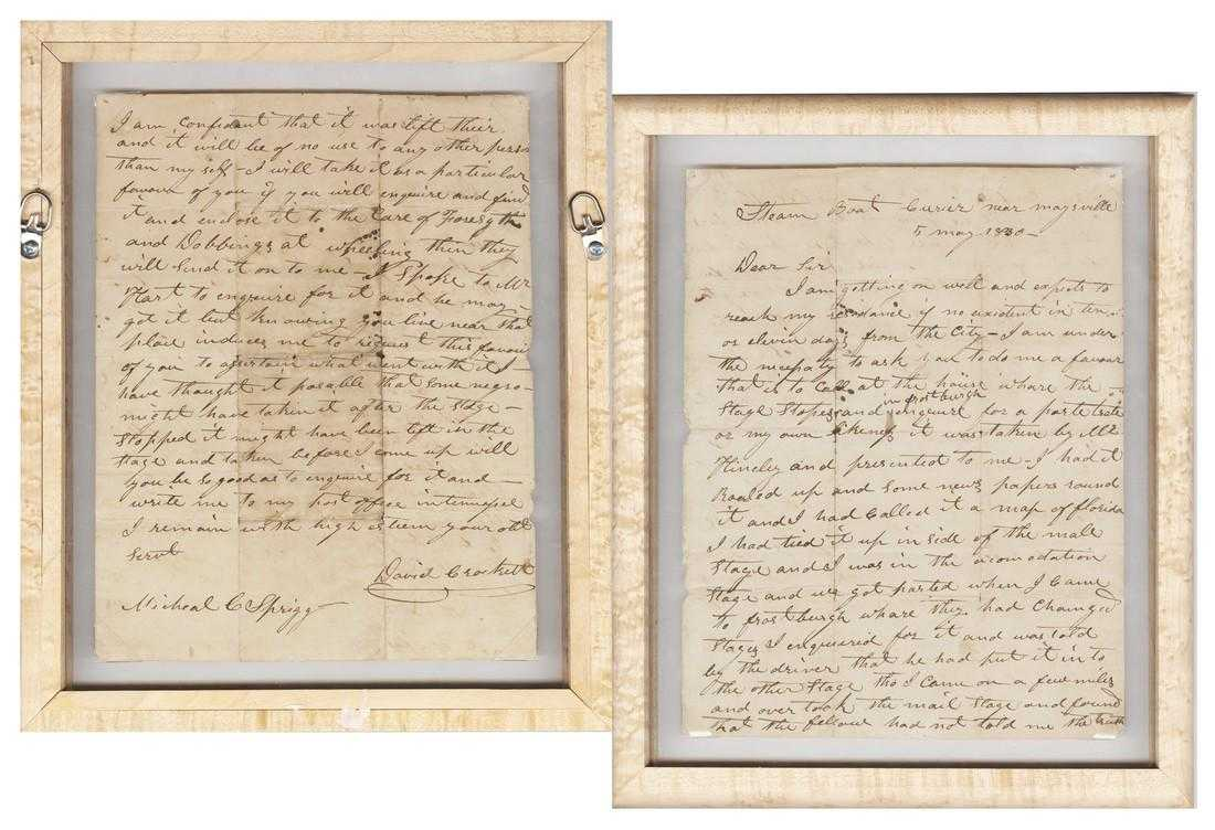 "One-page Davy Crockett letter, signed (""David Crockett"") and dated (""5 May 1830""), a fine if somewhat frantic letter, full of misspells and largely void of punctuation (est. $30,000-$35,000)."