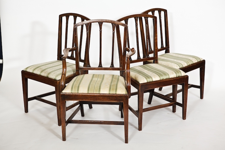 VICTORIAN SET OF FOUR MAHOGANY DINING CHAIRS. Estimate $125 - $190. Photo via McTear's