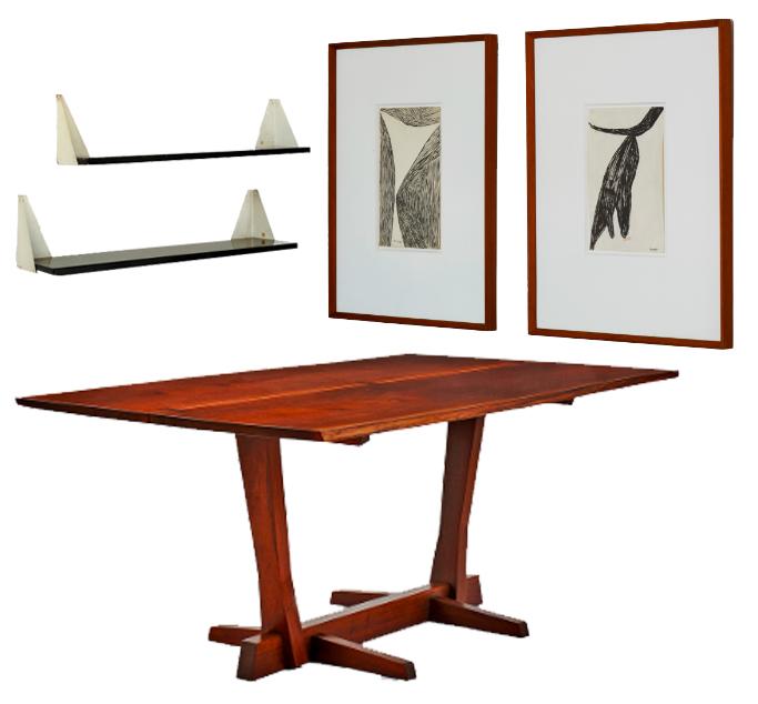En haut à gauche: Étagères par Willy Van der Meeren Au centre: Table par George Nakashima En haut à droite: Deux dessins de Louise Bourgeois de 1953 et 1949