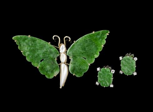 Broche papillon et boucles d'oreilles assorties Estimation basse: 920 € New Orleans Auction Galleries