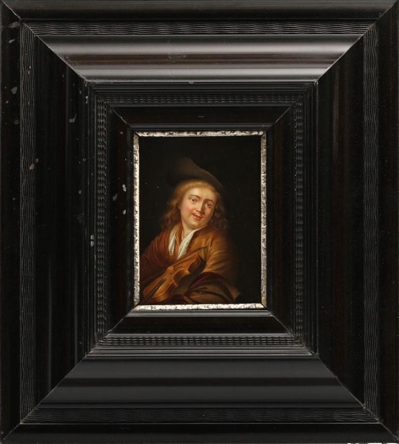 El violinista. Pintura después de FERDINAND BOLS que procede de un original de GERARD DOU