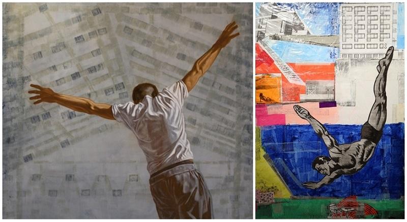 "Izquierda: ANASTASIA KOPITTSEVA. ""Salto"". Oleo sobre tela (2014) Derecha: JUAN DE DIOS. Scenes from an Italian restaurant"