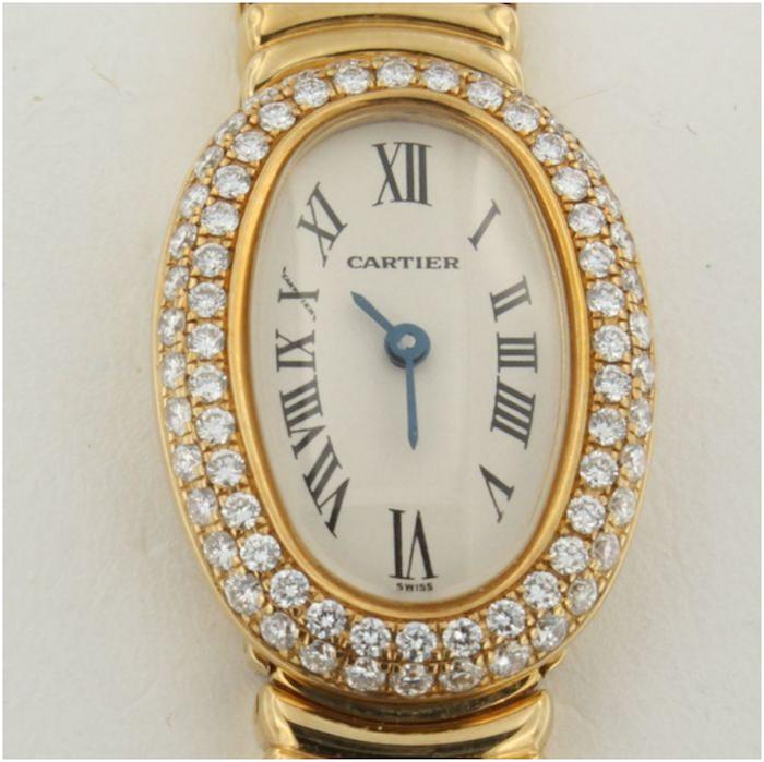 Damur Cartier, gult guld med 74 briljanter (totalvikt 0,96 karat). Auktionen avslutas den 18 december 20.00. Utrop: 74.300 SEK