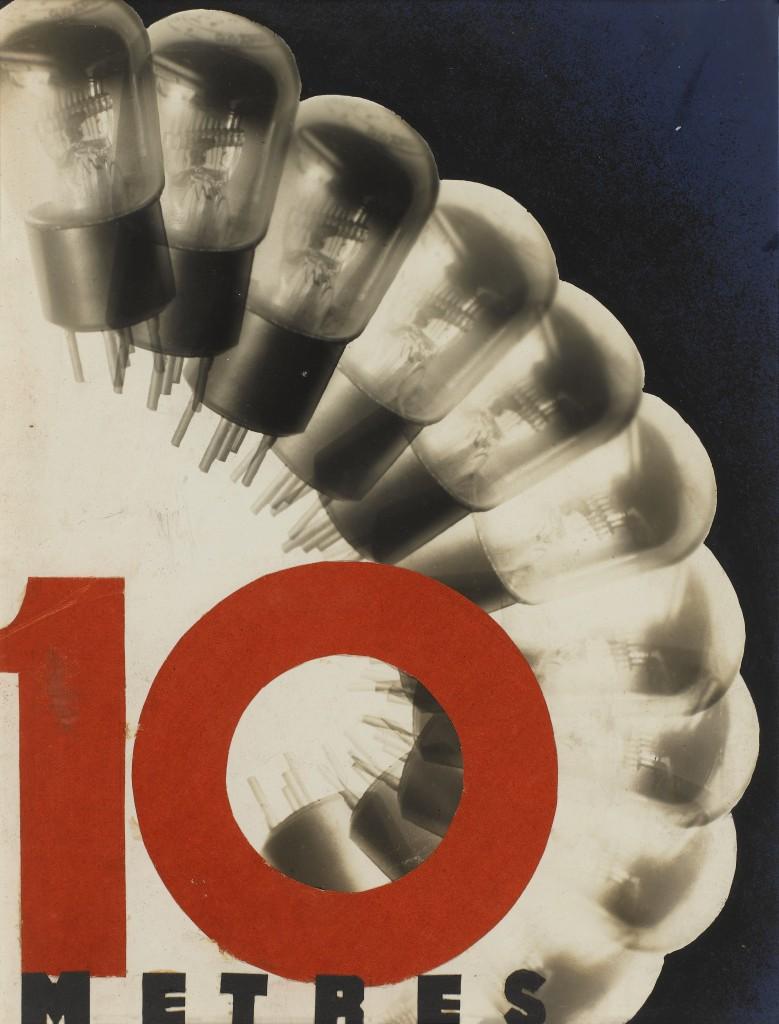 """Karquel Gaston """"10 mètres"""" Etude publicitaire pour des ampoules, vers 1938 Photomontage 35,2 x 23,3 cm Epreuve gélatino-argentique, photomontage Don de M. Jacques Karquel en 2012, collection Centre Pompidou, Paris Musée national d'art moderne - Centre de création industrielle"""