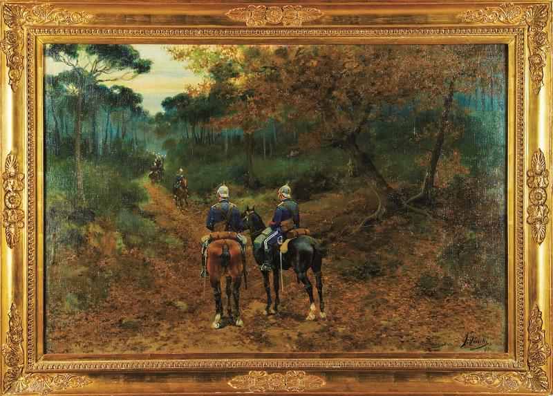 """Paisaje realizado por JOAQUIM VANCELLS y figuras realizadas por JOSEP CUSACHS. """"Parada militar"""" (1899)"""