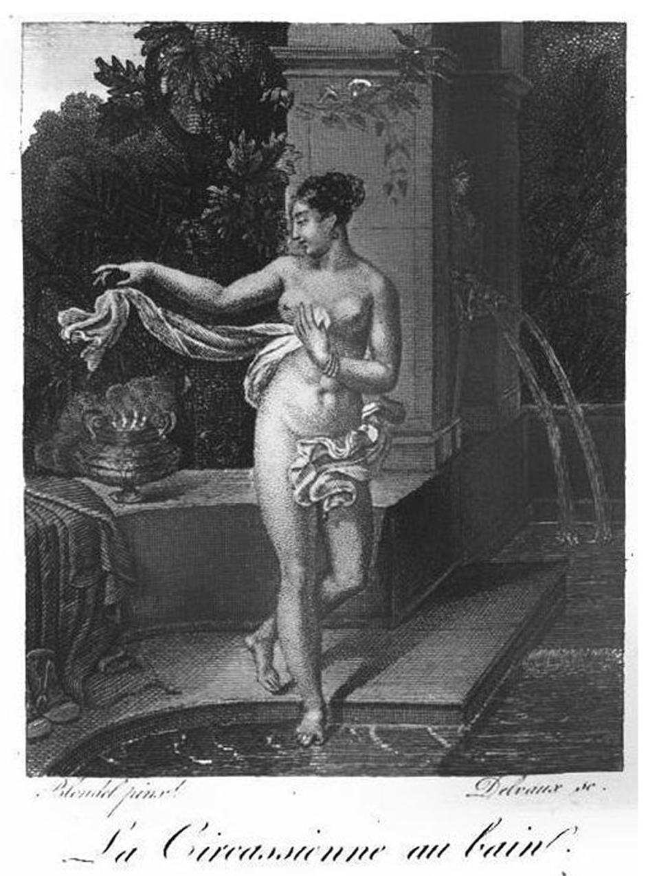 La Circassienne au bain, gravure nº2, Almanach des Dames de l'An 1823, page 8, image via Wiki Commons