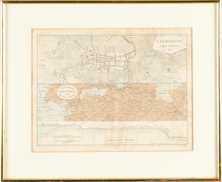 "Kopparstick, utgiven av NG Werming, 1811. ""Sträckningen af Göta Canal mellan Wettern och Roxen"". Bildstorlek 24 x 32 cm. Utropspris: 1 500 SEK. Bukowskis market"