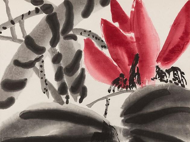Qi Baishi (1864-1957) , Lotus en fleur, Gravure sur bois, vers 1960 Estimation basse: 400 €