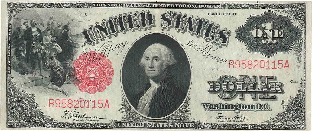 1 Dollar ÉTATS-UNIS D AMÉRIQUE 1917 P.187