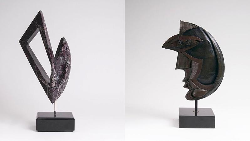 "ANTHONY QUINN (1915 Chihuahua - 2001 Boston) Links: Skulptur ""Scheherazade"", Marmor, signiert Rechts: Skulptur ""Dream Girl"", Bronze, signiert, 1984"