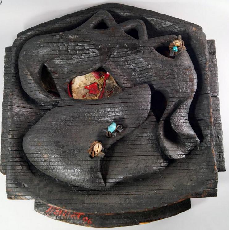 Satish Gujral (né en 1925) Untitled Sculpture mixed media et bois brulé En vente chez Roseberys