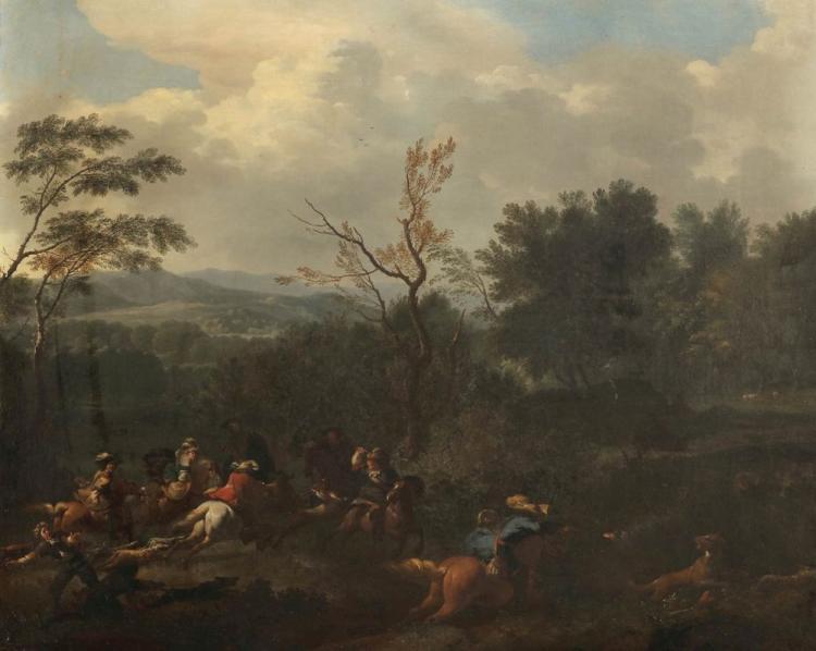 JAN VAN HUCHTENBURGH (1647 Haarlem - 1733 Amsterdam) - Schlachtenszene mit Pferden, Öl/Lwd., signiert