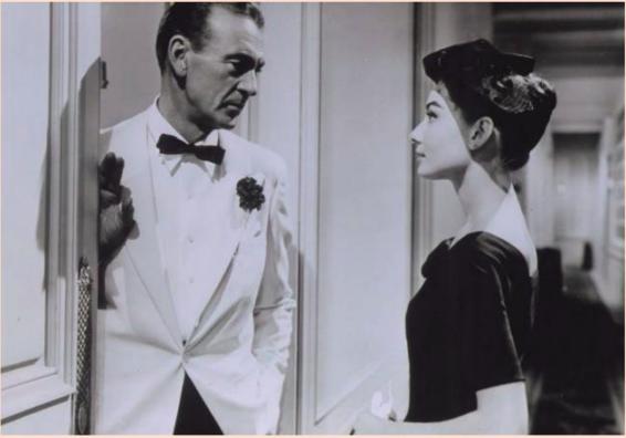 Gary Cooper et Audrey Hepburn dans Ariane de Billy Wilder, 1957, image ©Archives Ritz Paris