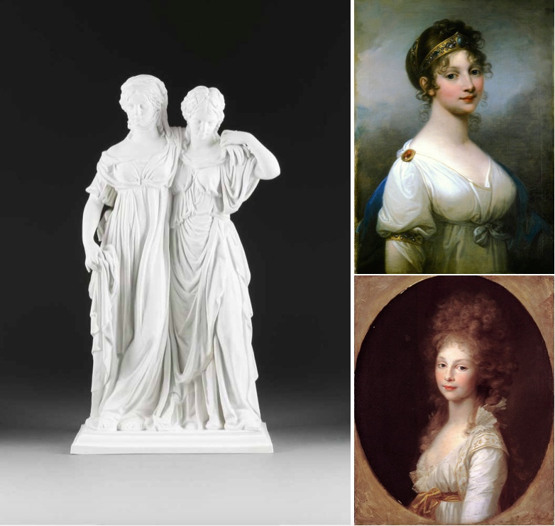 Links: KPM BERLIN - Prinzessinnengruppe aus Biskuitporzellan nach Johann Gottfried Schadow, 1962-92 | Rechts oben: Königin Luise von Preußen, Portrait von Josef Maria Grassi (1802) | Rechts unten: Prinzessin Friederike von Preußen, Portrait von Johann Tischbein (1796)