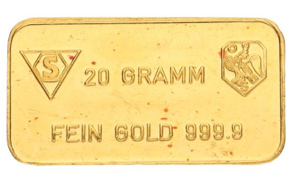 Lingot d'or de 20 grammes d'or fin 999.9 Catawiki