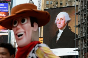 Woody and George Washington at Times Square, New York.
