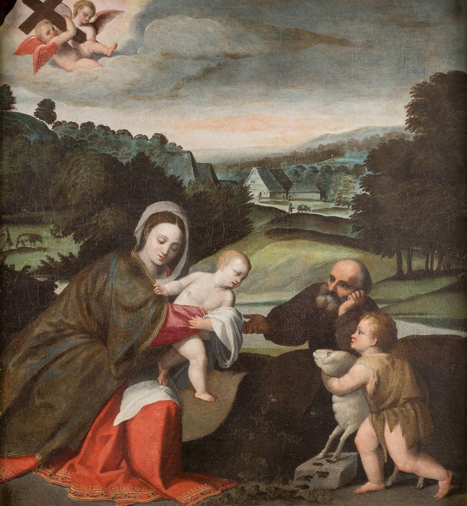 POLIDORO DA LANCIANO (1515 Lancanio - 1565 Venedig) attr. - Die Heilige Familie mit dem Johannesknaben, Öl/Lwd., 116 x 107 cm Limitpreis: 11.000 EUR